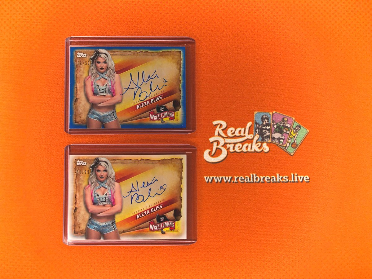 2020 Topps WWE Road to Wrestlemania Alexa Bliss Base Auto /99 & Blue Auto /50 . . . @Topps #realbreaks #boompoodle #whodoyoucollect #topps #toppswwe #wrestlemania #wwe #casebreak #groupbreak #wrestling #alexabliss #wrestlemania34 #royalrumblepic.twitter.com/HZ0qExdmCX