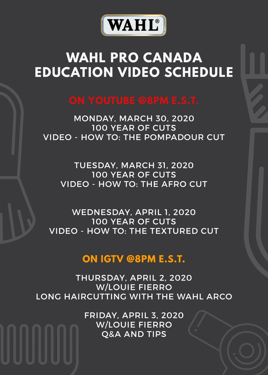 Check out our #WahlSchool Wahl Pro Canada Education schedule for this week! Stay tuned, there is more to come! #barbereducation   #canadianbarbers #WahlLove #wahlprocanada #barberlife #barberlove #barbering #haireducation #haircuts #hairstylist #wahlprocanada #wahloffamepic.twitter.com/9aquxb2qWT