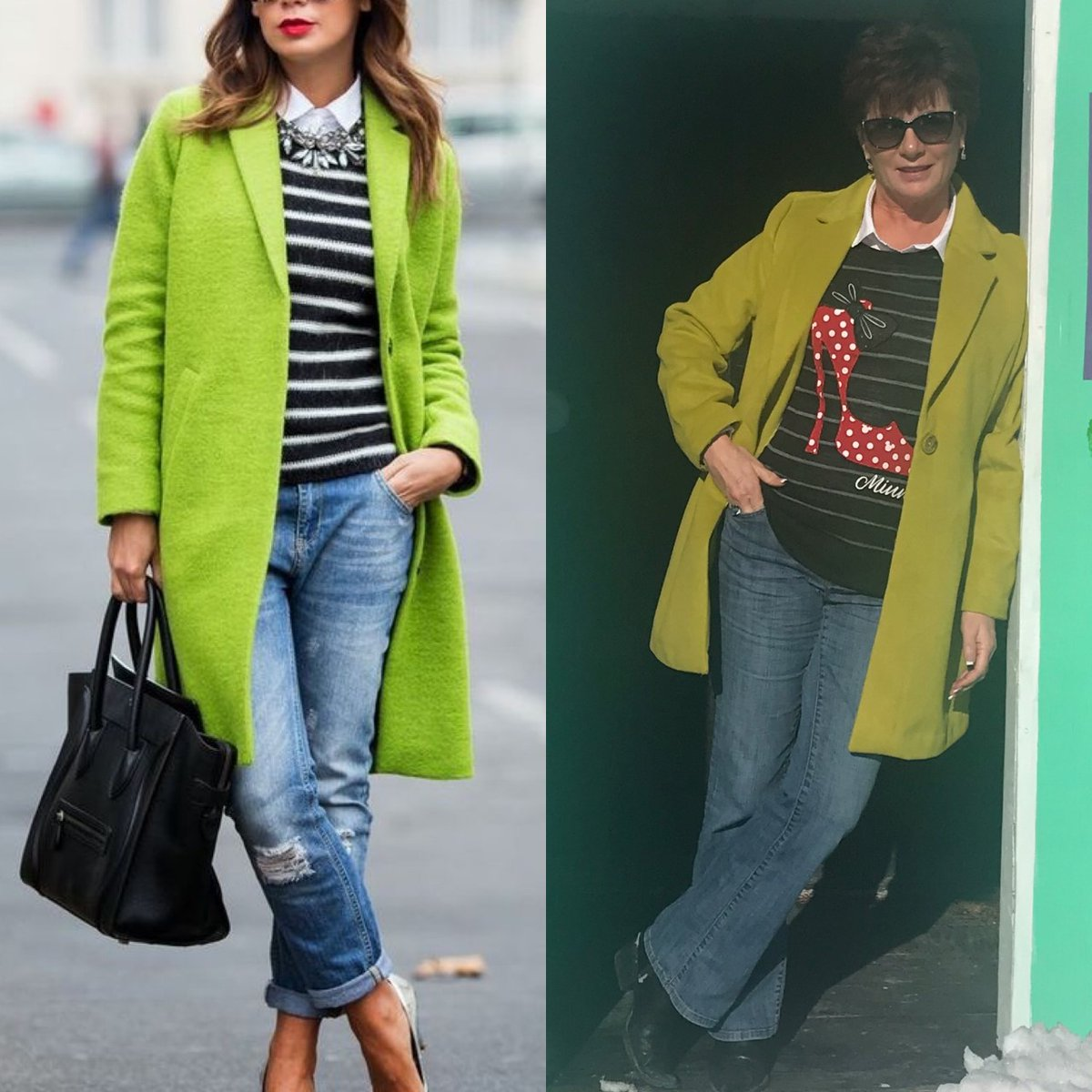 Helen Escott On Twitter The Pinterest Outfit On The Left Caught My Eye Because Of The Bold Lime Green Coat I Found A Similar One At Winners For 35 This Is A