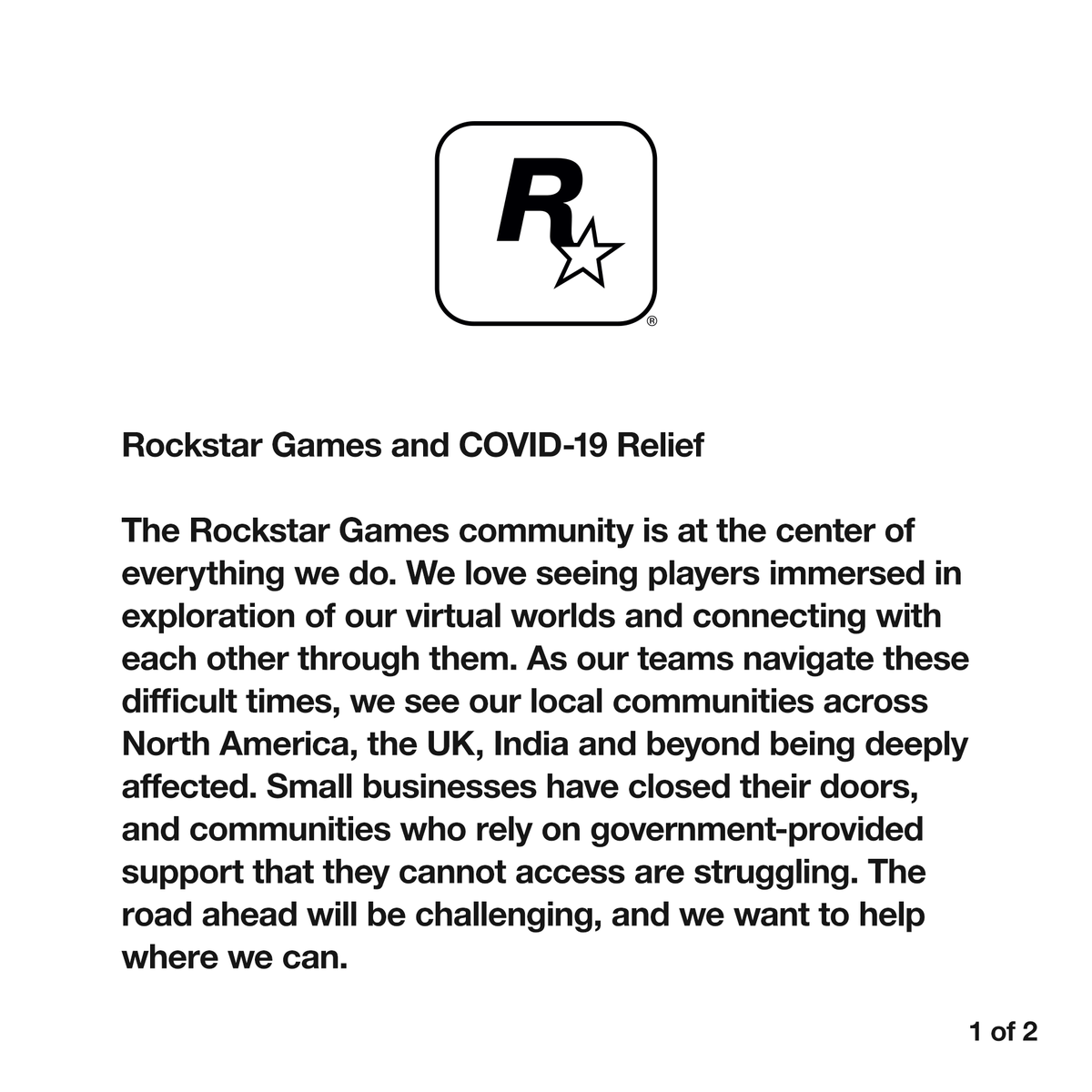 Rockstar Games and COVID-19 Relief