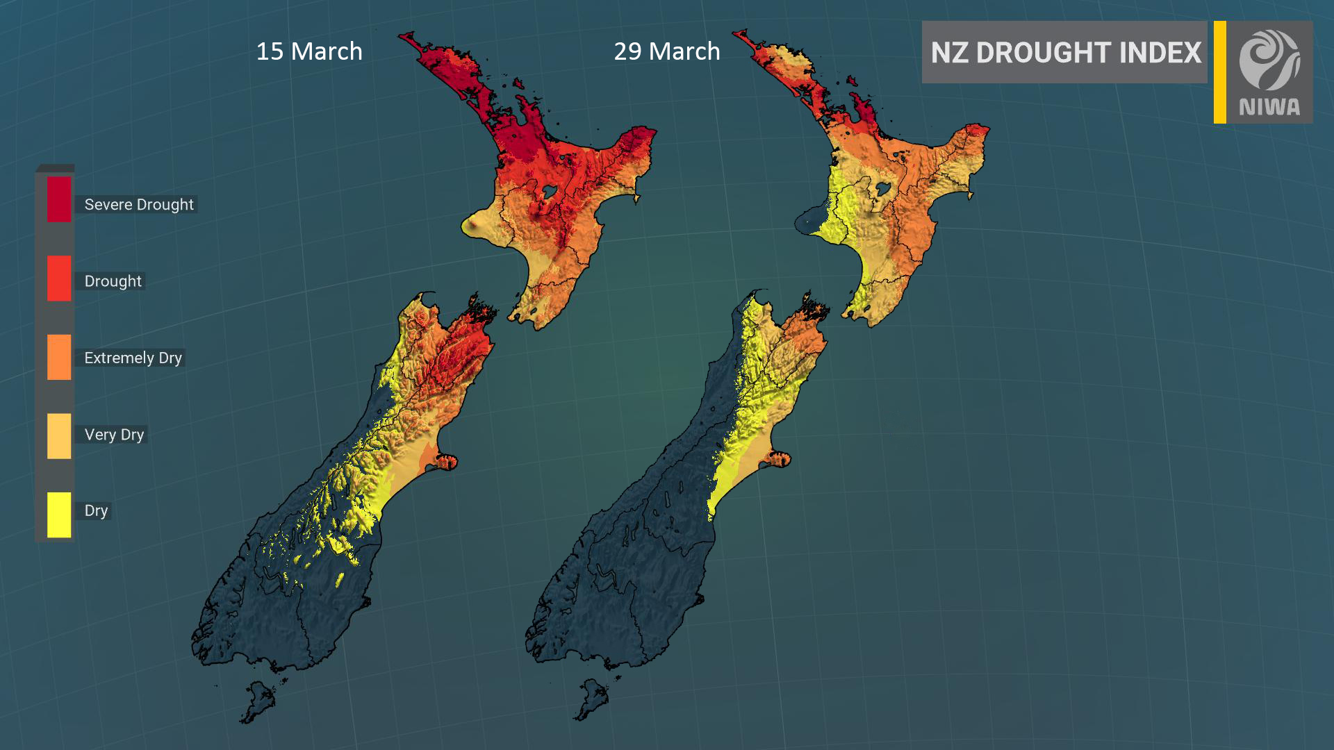 Good news: dryness is easing across the lower North Island and upper South Island     However, meteorological drought continues in Northland, Auckland, and north Waikato & Coromandel Peninsula.    April monthly rainfall is projected to be near or below normal in these regions. https://t.co/DDdYu8p8dQ