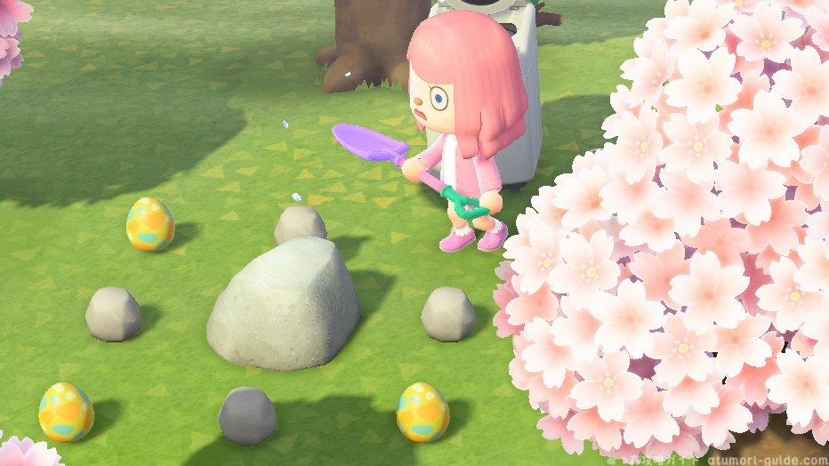 【あつまれどうぶつの森 イースターエッグの集め方】ウッディなたまご:木をオノで叩く・切るはっぱのたまご:木を揺らすいわのたまご:岩をスコップで叩くじめんのたまご:スコップで掘るそらとぶたまご:風船をパチンコで撃ち落とすサカナのたまご:釣る#あつまれどうぶつの森 #あつ森
