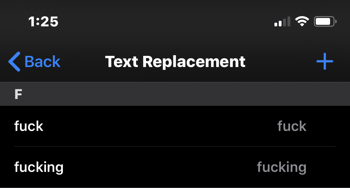 """This is the second time in a week I've seen the """"ducking"""" autocorrect fury. Here's the fix: Settings → General → Keyboard → Text Replacement twitter.com/kzwa/status/12…"""
