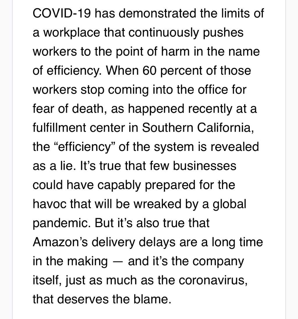 Wrote about how Amazons mistreatment of workers in the name of efficiency has come back to haunt it at the worst possible time getrevue.co/profile/caseyn…