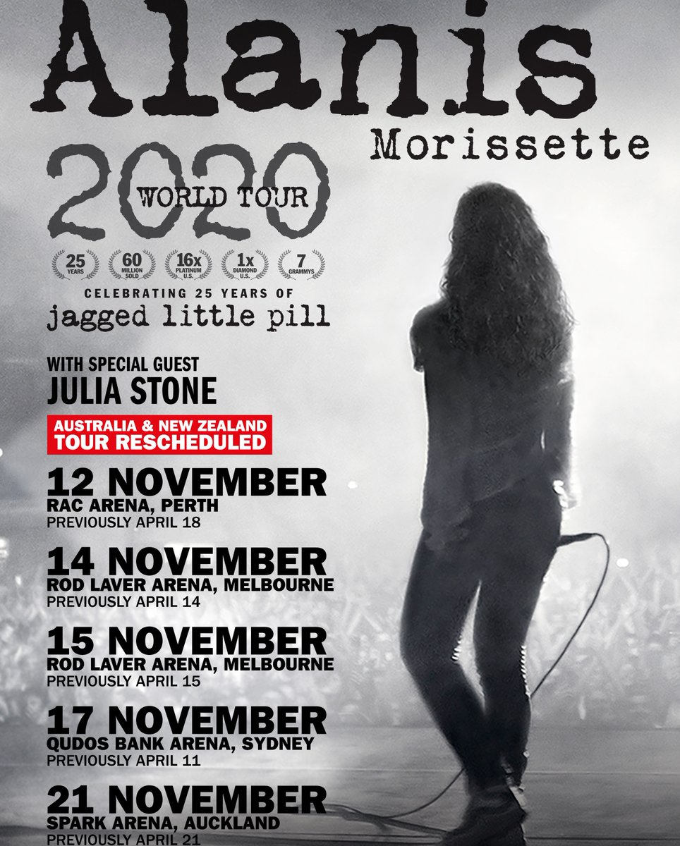 RESCHEDULED We're sure @alanis fans will be happy to know that she'll now be coming to #RLA on November 14 & 15 to celebrate 25 years of 'Jagged Little Pill' pic.twitter.com/shiRAblLh0