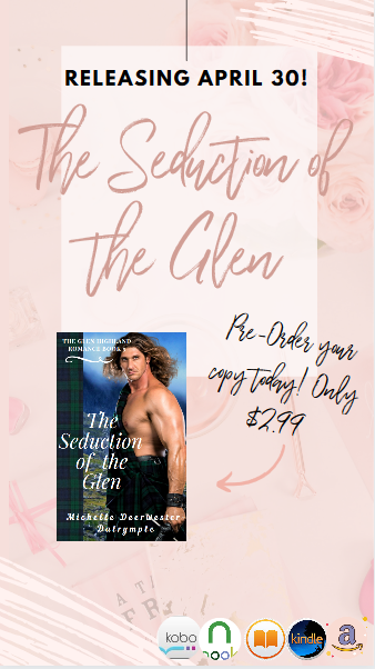 For April, giveaways (a Kindle Fire giveaway on release day!)  and events are on for The Seduction of the Glen. Plz RT lovers of historical romances!  Early reviews:  The Seduction of the Glen Pre-Order:  #BookBoost #TuesdayTreat
