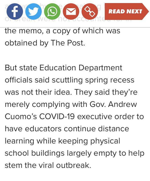@iChrisLehman @NYSEDNews @NYCSchools Cuomo made this decision, NYSED complying. nypost.com/2020/03/31/cor…