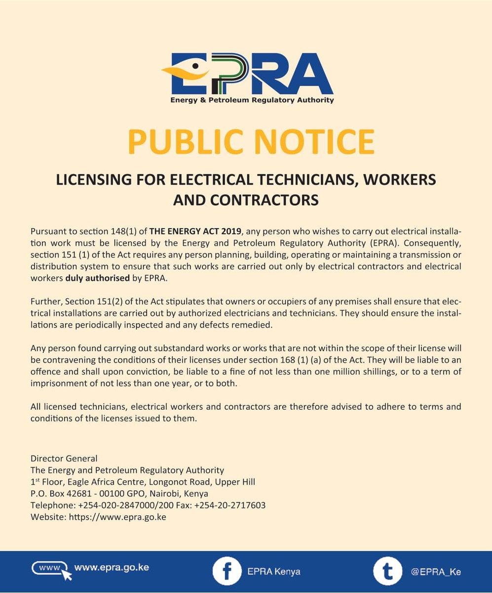 🔴👷 PUBLIC NOTICE Licensing for Electrical Technicians and contractors. @EPRA_Ke  @ncakenya  @kfmbkenya  @KPDA_Ke  @kabcec https://t.co/vjcJQJAcE1