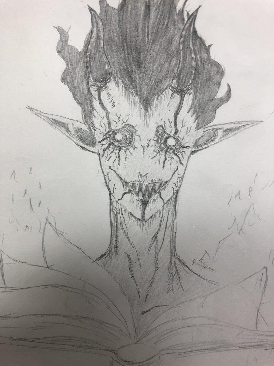 ブラッククローバーの言霊魔法の悪魔ザグレド… 自分で描いておきながらキモイな、ってドン引きしてる…笑  まだ途中ですが… #ブラッククローバー #ブラクロ #ザグレドpic.twitter.com/b1tIi5e6Ij