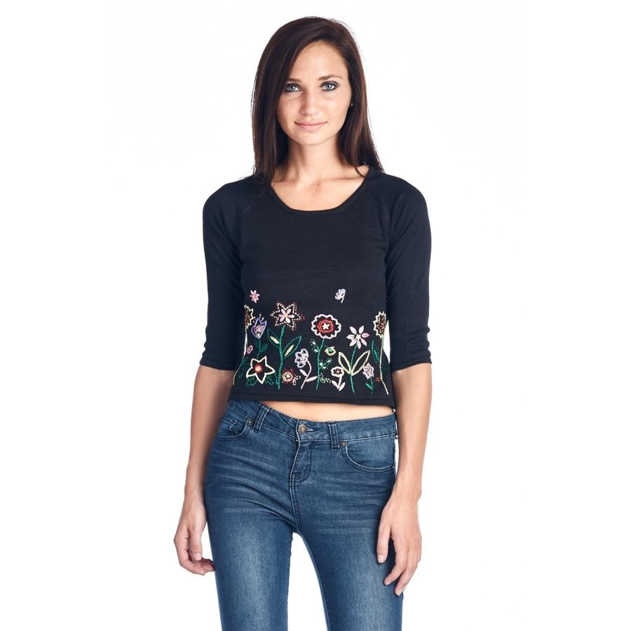 Women's Floral Embroidered Tie-Back Crop Sweater  $  35.99.   https://pooo.st/dJBEr  #jacket #coat pic.twitter.com/mPyMbNYZzr