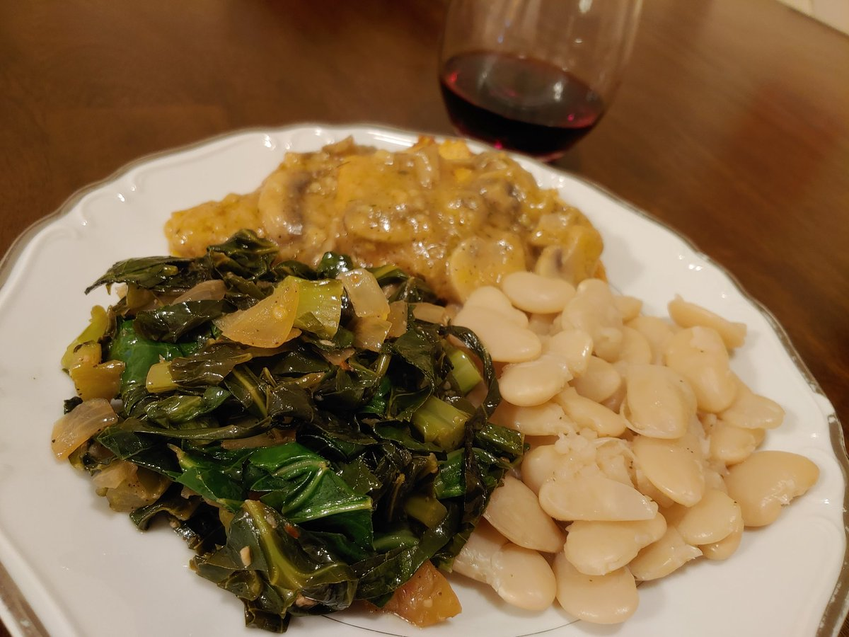 Collard greens, lima beans and Turkey cutlet with mushroom gravy! #homecooking #Dinner pic.twitter.com/YQvOPb8Nbl