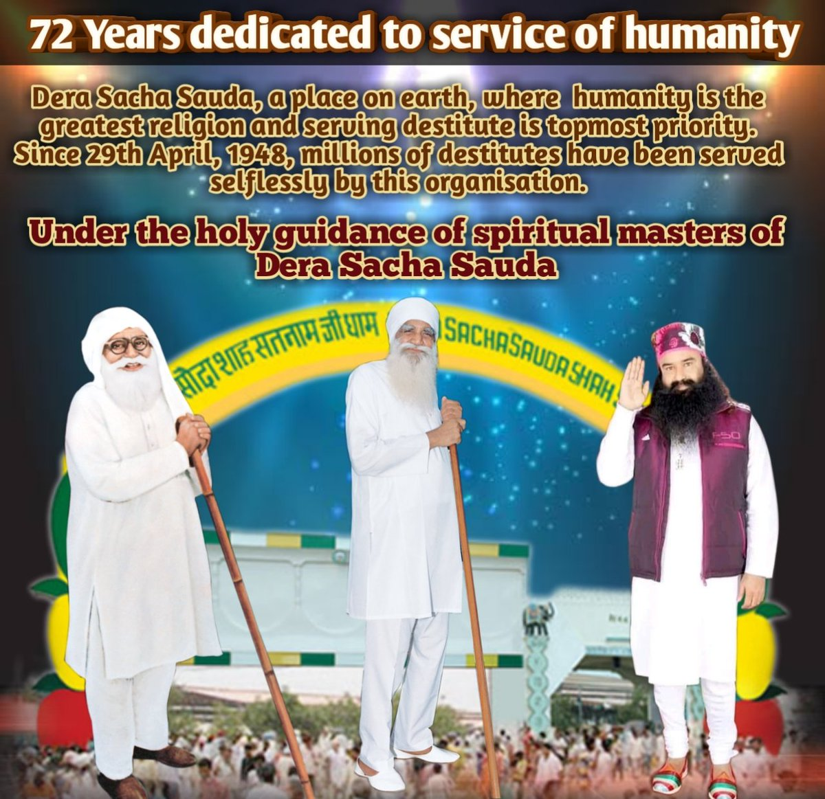 @Derasachasauda will complete its #72YearsOfServingHumanity on 29th April, 2020. Even the beginning of the Foundation Month Of DSS filled the followers with such an immense craze that they start doing welfare works started by Saint Dr. @Gurmeetramrahim Singh Ji.pic.twitter.com/0oKnpTnHmb