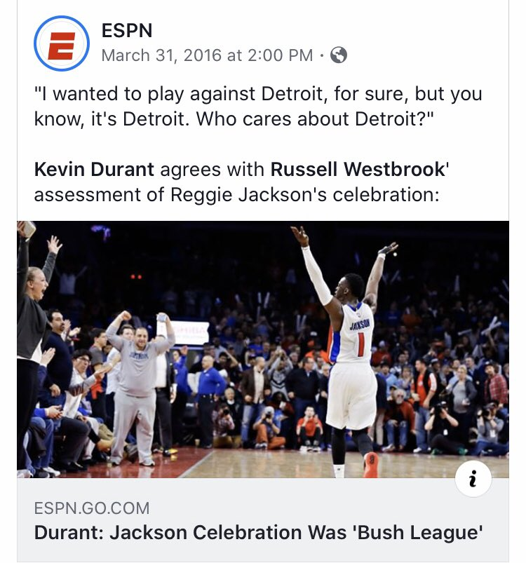 4 years ago today when KD reminded Reggie Jackson & The Pistons they were nothing 😂