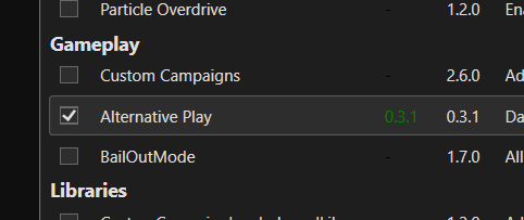 Alternative Play 0.3.1AlternativePlayは ModAssistantと beatmodsで許可したこれは ビーセイ 1.8.0と互換#BeatSaber