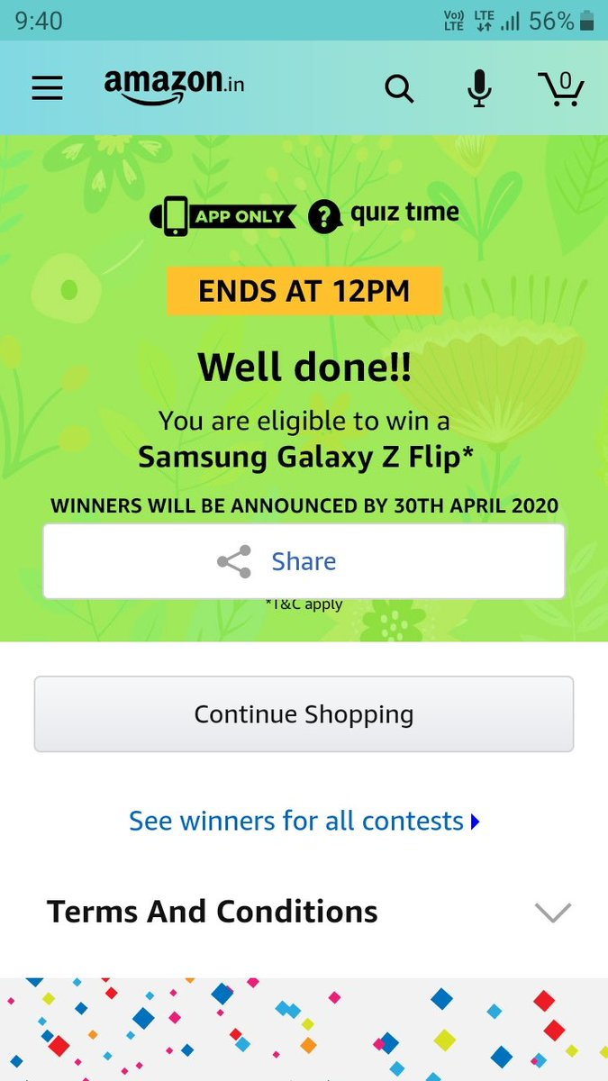 Thanks for this quiz @amazonIN  #SamsungZFlip* pic.twitter.com/qgvsLBmcCZ
