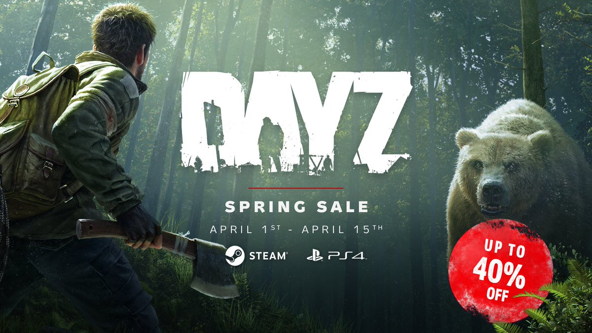 DayZ is up to 40% off on #PS4 and #Steam until April 15th. Don't miss this opportunity, Survivor.  #Sale pic.twitter.com/1ydN13o2z3