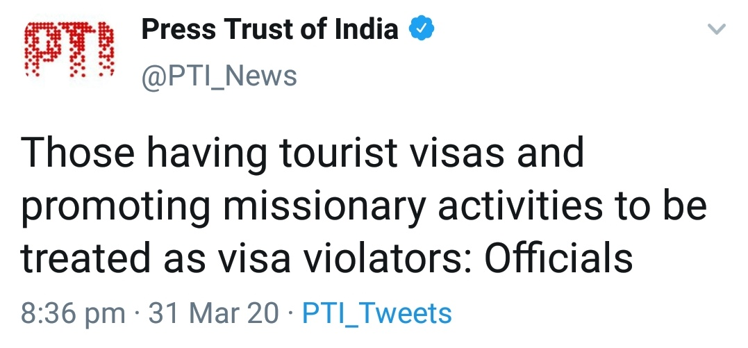 Regret saying this, but the urge to be seen as 'secular' and the fear of #LeftLiberal - #Islamist #Commentariat hobbled the law till now. #India paid a terrible price. Misuse of tourist visa for religious preachery/evangelism was always a crime. But violators were never punished. pic.twitter.com/3WGxLz1cEM