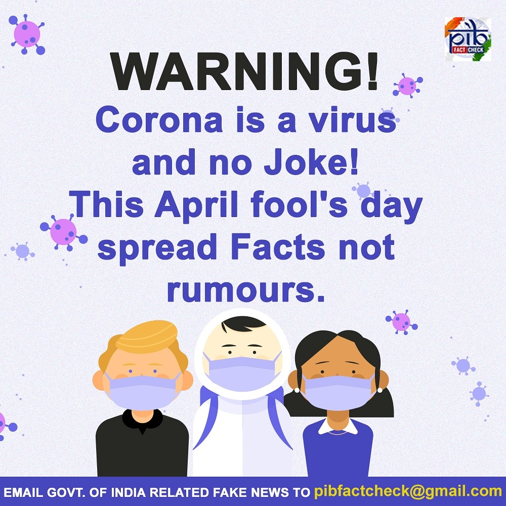 On April fools day, lets not make #Coronavirus a joke! #FightAgainstRumour is as important as #FightAgainstCorona #AprilFools #AprilFoolsDay
