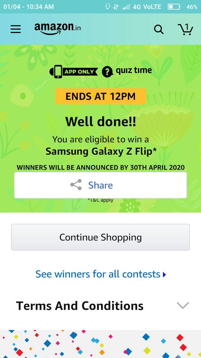 Vikash Choudhary :-@Vikashjaaat  #QuizTimeMorningsWithAmazon here @amazonIN  @amazon #amazonindia #amazonquiz #SamsungGalaxyZFlip @SamsungIndia @SamsungMobile I'm able to winpic.twitter.com/MAW03BV5ad
