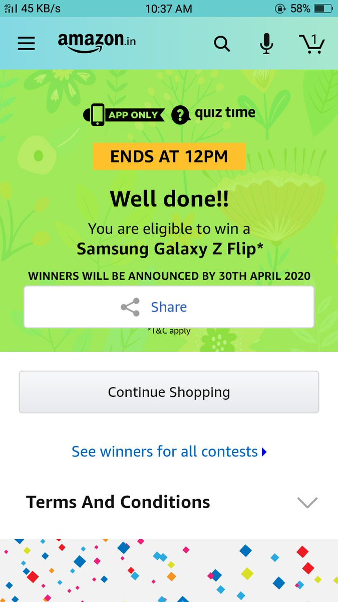 @Prakash69379905  Hope to win the prize  #samsunggalaxyzflip  With #Quiztimemorningswithamazon  @amazon  @SamsungMobilepic.twitter.com/orjV6nM2Xb