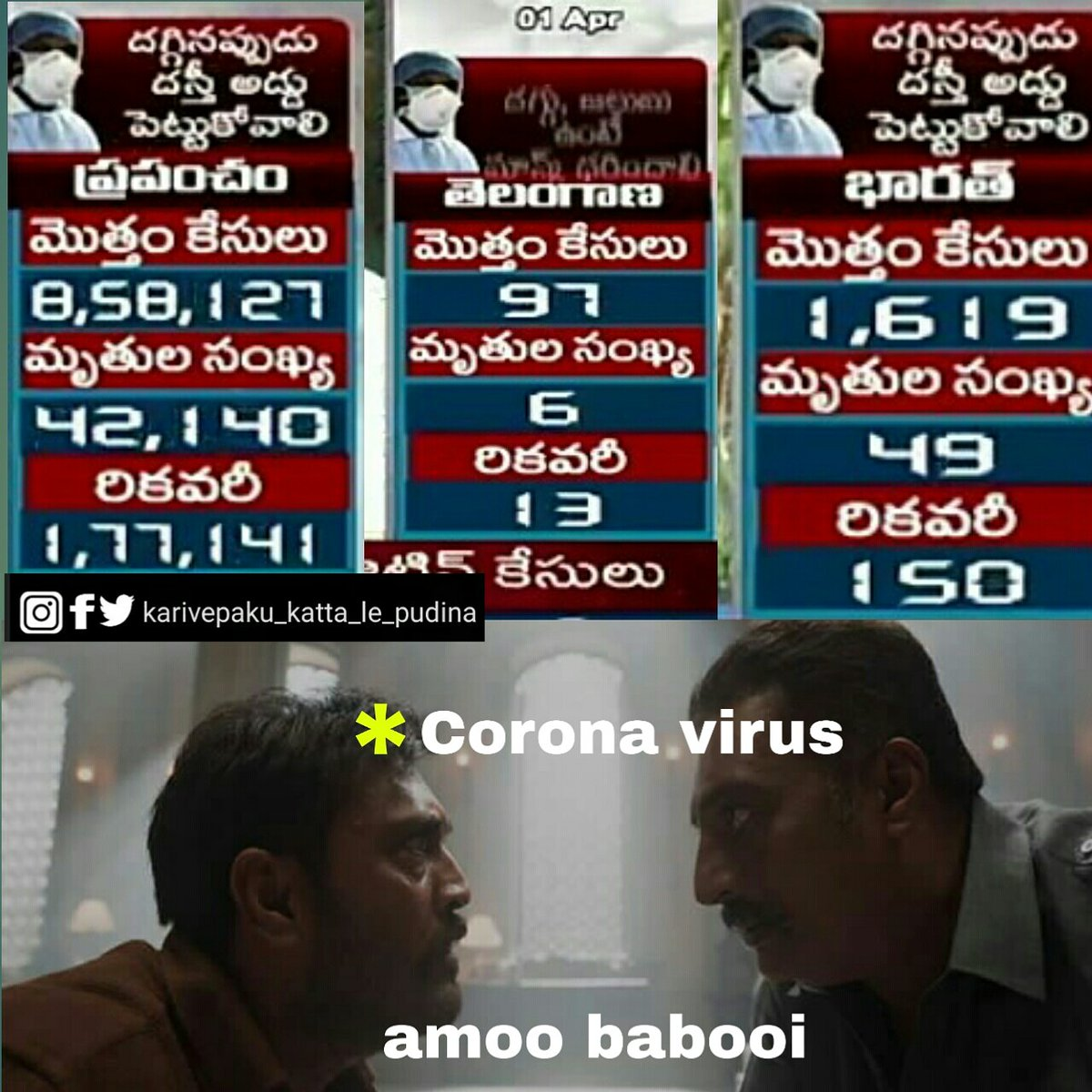 Do follow @Karivepa @memes_tonic #telugumemes #tiktoktelugu #TablighiJamaat #COVID #DebutWithBTS #KajalAggarwal #VijayDeverakonda #MaheshBabu #Prabhas20 #KTRpic.twitter.com/UYwkDXeGwN