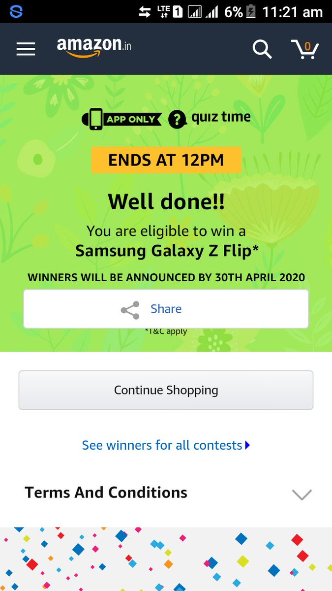 Eligible for a chance to win #SamsungZFlip smartphone. Hope that I will win the contest. Thanks to @amazonIN and team.  #QuizTimeMorningsWithAmazonpic.twitter.com/KLq33dZv8i
