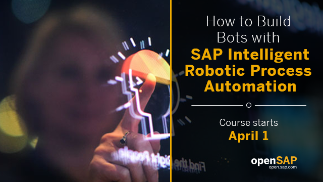 """REMINDER   Our 2nd @openSAP course """"How to Build Bots with SAP Intelligent Robotic Process Automation"""" restarts TODAY (and we are not fooling you )  https://open.sap.com/courses/rpa2-1  #RPA #IntelligentRPA #IntelligentEnterprise #SAP #openSAPpic.twitter.com/J2g3XLjEU0"""