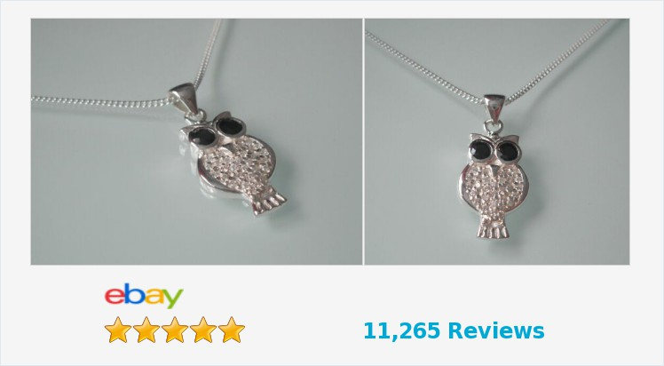 """Brand New 925 Sterling Silver and cubic zirconia Owl necklace on an 18"""" chain 