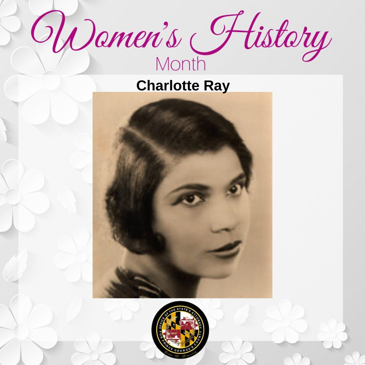 Charlotte Ray - 1st Black American female lawyer in the U.S. Ray graduated from @HowardLawSchool in 1872. She was the 1st female admitted to the D.C. Bar, & the 1st woman admitted to practice before the Supreme Court of D.C.  #wcw #WHM2020 #bravejustice #pgsaonews #charlotteray