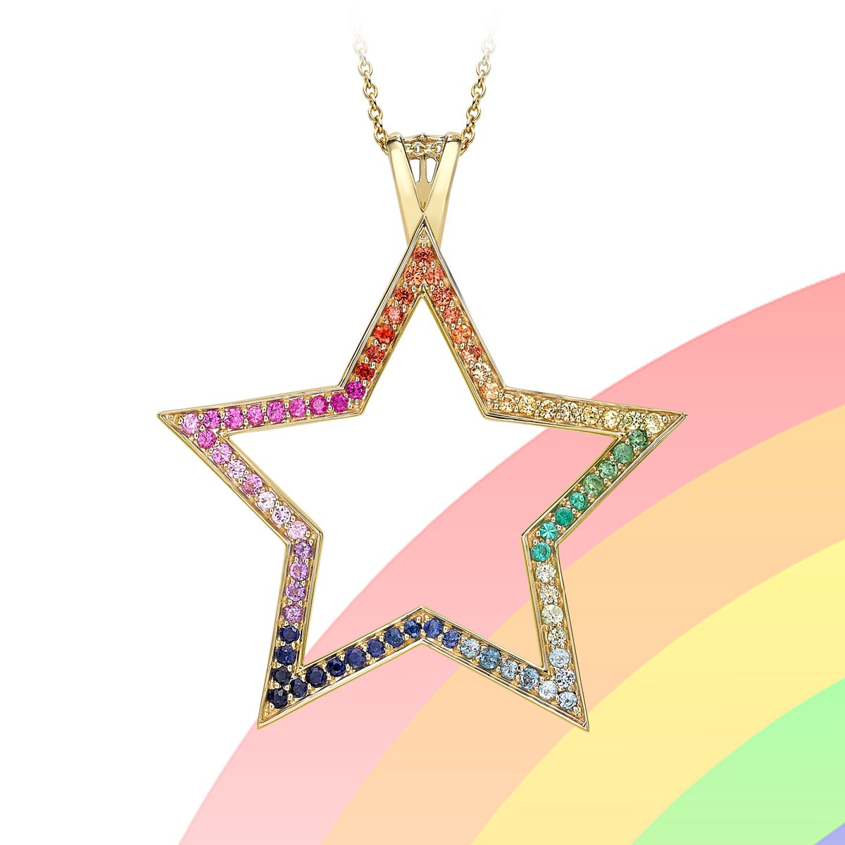 When it rains look for rainbows  When it's dark look for stars  #TheoFennell #Star #Rainbow #Pendant #Sapphire #Topaz #Emerald #Tsavorite #Garnet #Peridot #Amethyst #Rubypic.twitter.com/dV5mjuXiFD