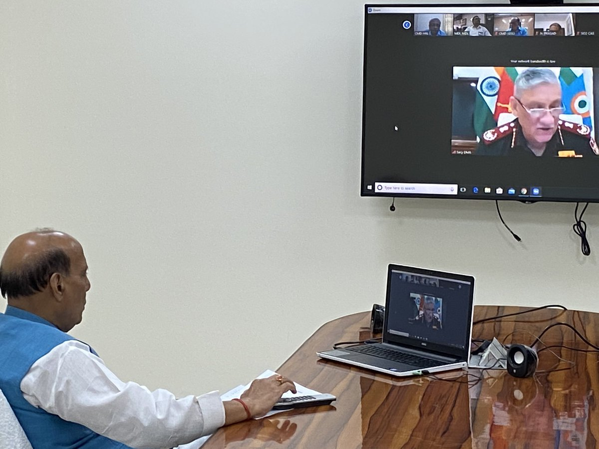 "Rajnath Singh on Twitter: ""Today, via video conferencing, had a review  meeting with the CDS, Service Chiefs, Secretaries, and DPSUs to discuss the  preparedness and ongoing efforts towards tackling COVID-19 menace. The"