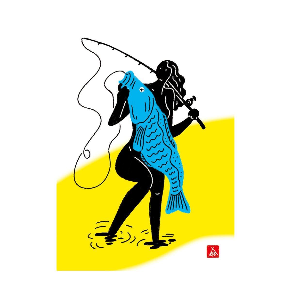 (〃´・ω・`) 「釣り」fishing  #fishing #illustration #イラスト  #ナカオテッペイ #釣り  #art #nakaoteppei #instacool #オリジナル  #original #instagram