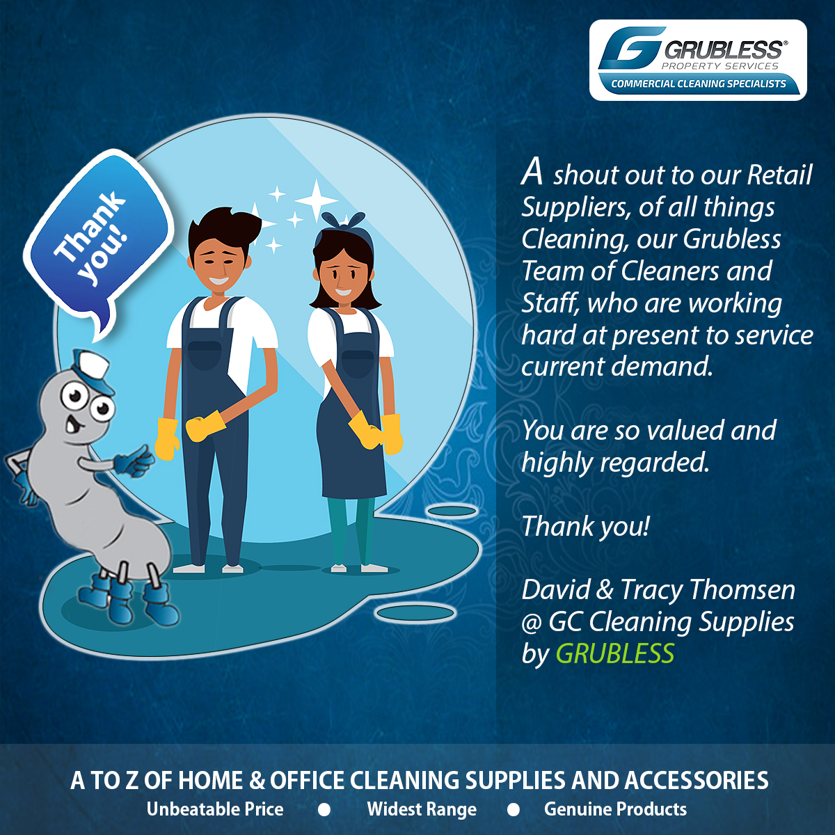 Thankful & Grateful to each one of you!  #cleaning #cleaningsupplies #commercialcleaning #Grublesspropertyservices #gccleaningsupplies #cleaningproducts pic.twitter.com/M5C4Q7J23X