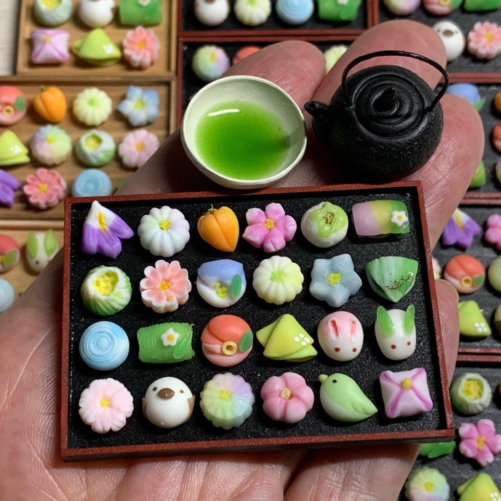粘土の和菓子を作りました☆ https://t.co/ruIZnUqVVq