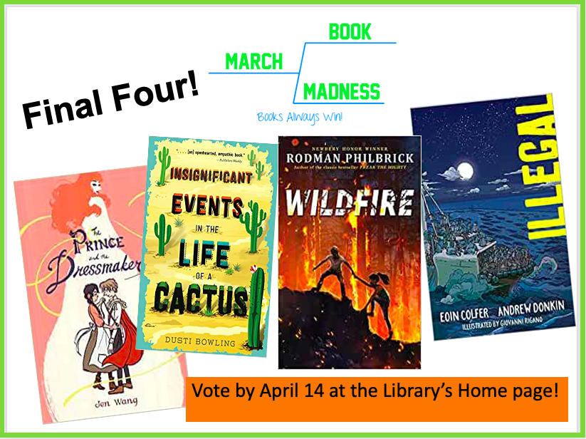 📕📙  It's no surprise that these books are in the FINAL FOUR of the March Book Madness tournament! Voting on the Final Four lasts till April 14 <a target='_blank' href='http://twitter.com/HBWProgram'>@HBWProgram</a> <a target='_blank' href='http://twitter.com/APSLibrarians'>@APSLibrarians</a> We have each of the <a target='_blank' href='http://search.twitter.com/search?q=2020MBM'><a target='_blank' href='https://twitter.com/hashtag/2020MBM?src=hash'>#2020MBM</a></a> titles in audiobook!  <a target='_blank' href='http://search.twitter.com/search?q=loveHB'><a target='_blank' href='https://twitter.com/hashtag/loveHB?src=hash'>#loveHB</a></a> Votes here ➡️  <a target='_blank' href='https://t.co/ME5lJXLhkf'>https://t.co/ME5lJXLhkf</a> <a target='_blank' href='https://t.co/NNq31fZkME'>https://t.co/NNq31fZkME</a>