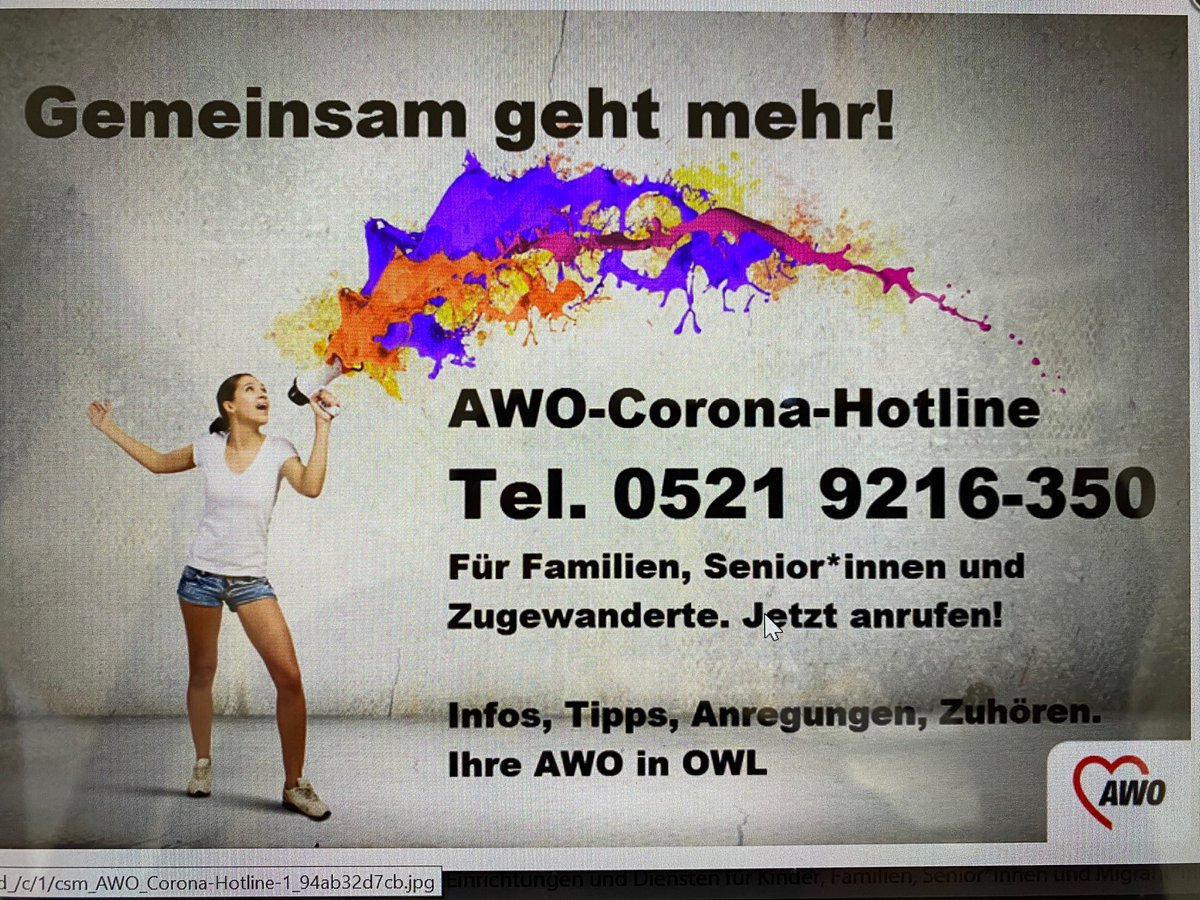 Jetzt am Start: Unsere Corona Beratungshotline der #AWO #OWL für Ostwestfalen-Lippe. pic.twitter.com/gT2l2uzF1F