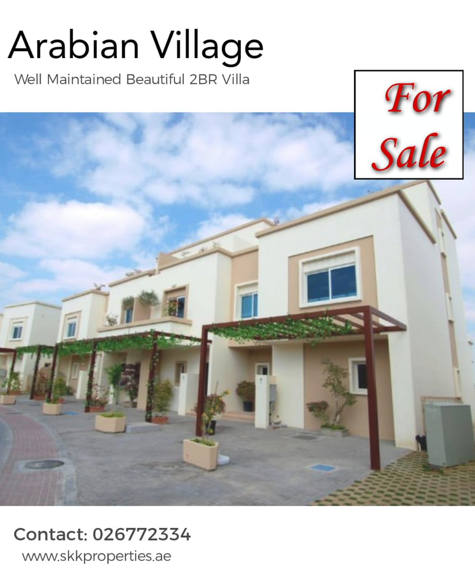 Beautiful 2BR Arabian Style Villa Available for Sale. AED 1,010,000  Contact us today to get this amazing deal.  Call : 026772334 Email: info@skkproperties.ae  #UAE #abiduabi #Properties #Apartments #Spaciousrooms #Good #Community #niceview #maidrooms #skkproperties #idealhome https://t.co/8dKaegppXu