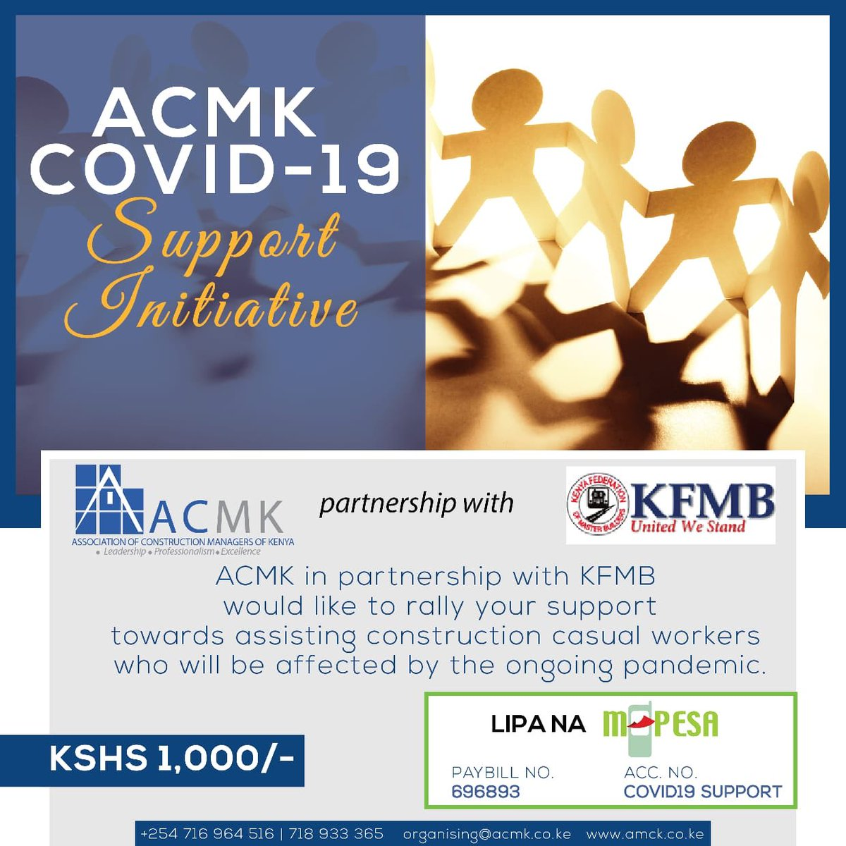 60% of our construction workforce are informal.COVID-19 has and continues to affect many ongoing site construction works.Consequently we have a large number of casual workers who are currently unable to fend for their households.This number may augment in the coming days. 1/1 https://t.co/Rq4T9NyX4u