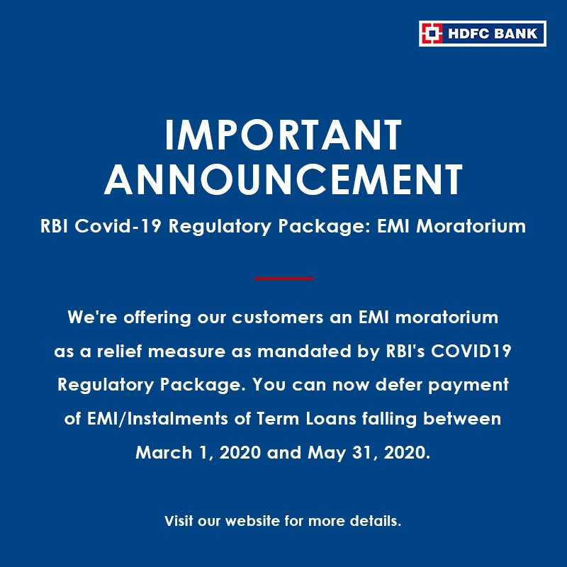 Important #announcement. Click here to visit our website for details on #EMI moratorium. https://t.co/UMTx9deH7A @RBI @DFS_India @DFSFightsCorona @FinMinIndia @HDFC_Bank https://t.co/PuWznjOYLn