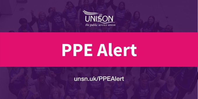 A group of women who are part of unison behind a purple transparent background. In the foreground a pink banner with the text PPE Alert written on it. Beneath the banner is the text unsn.uk/PPEAlert