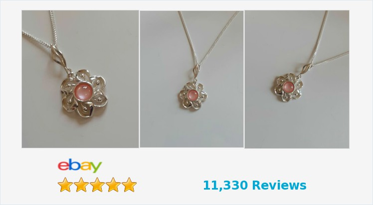 Brand New 925 Sterling Silver Flower and Pink Mother of Pearl Necklace | eBay #sterlingsilver #pink #motherofpearl #flower #pendant #necklace #handmade #jewellery #gifts #giftideas #pretty #beauty #accessories #giftsforher #brides #weddings #uksmallbiz