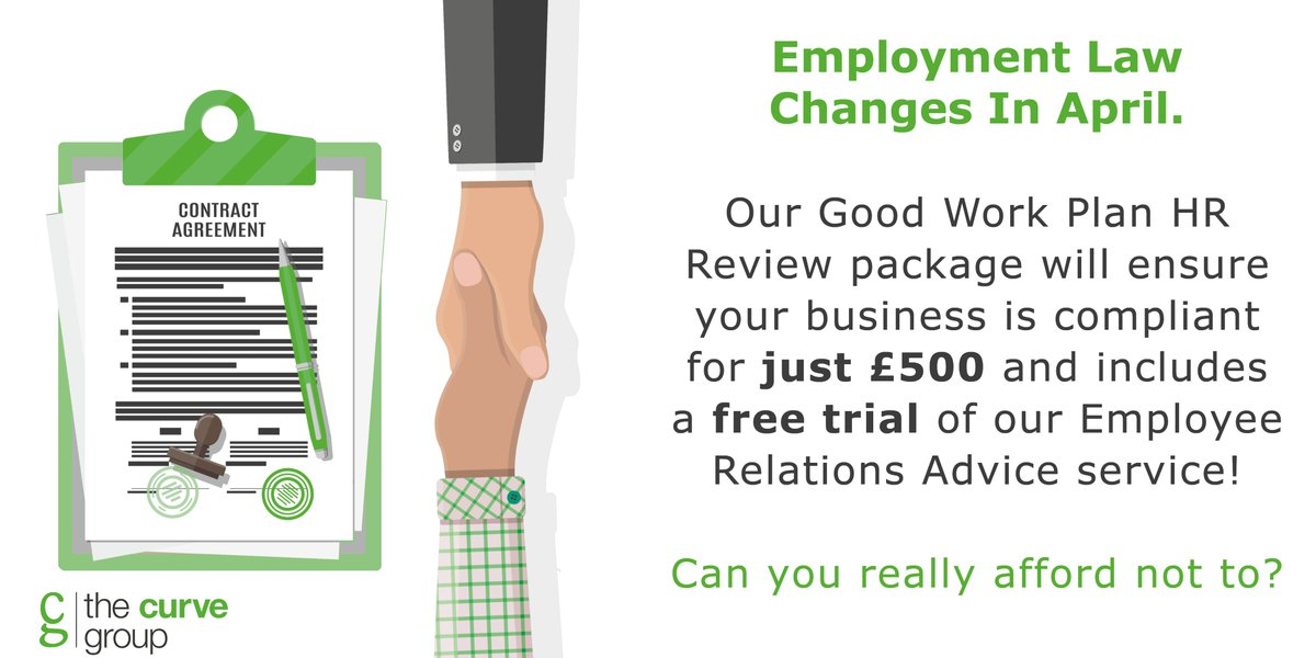 Are you ready for the new employment laws that come into effect on Monday? Our Good Work Plan HR Review can ensure you're compliant for just £500! Find out more here: http://bit.ly/GWP-HR  #goodworkplan #ukemplaw #wednesdaythoughtspic.twitter.com/037tujZNWC