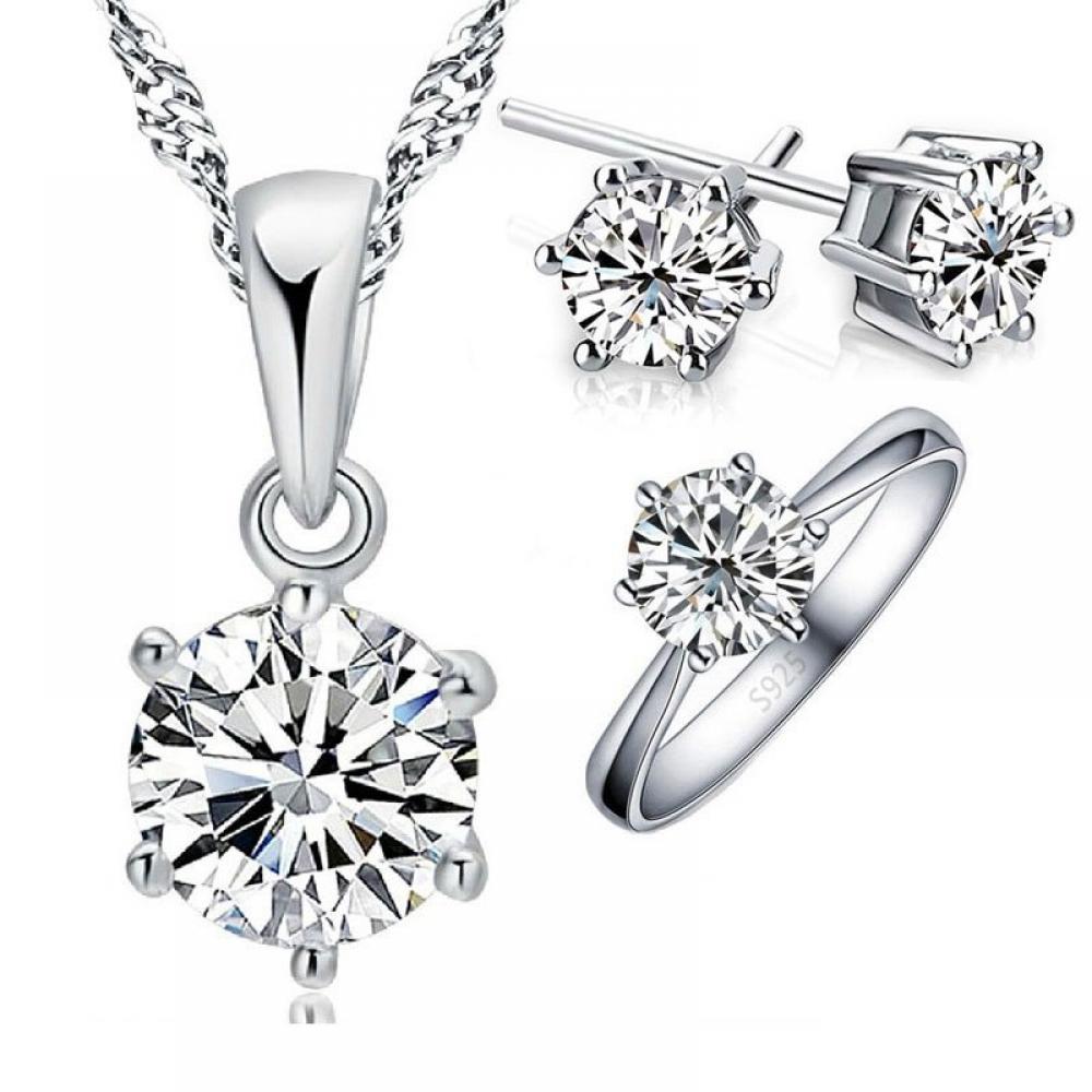 925 Sterling Silver Bridal Jewelry Set#cute #pretty
