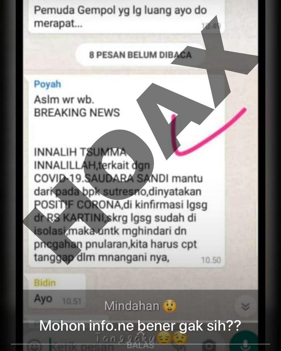 Replying to @ppidrsudkartini: Bahwa info yang tersebar ini adalah HOAX.