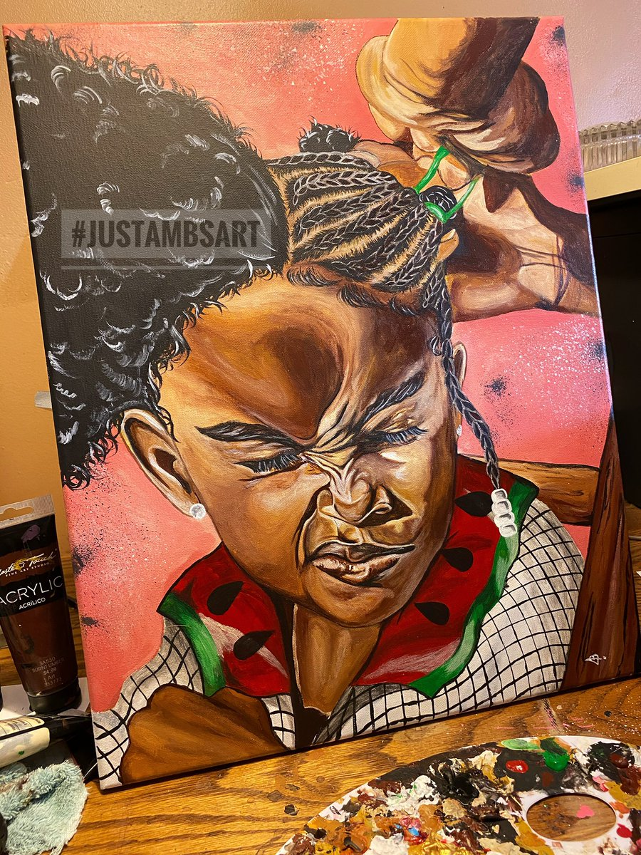 """I know it's been a while.....Here's something that every black female could relate to . Everybody meet the newest member of my classic collection called """"Beautiful Tension""""  #justambsart #blackartists #blackgirlswhopaint  #SupportBlackBusinesses #acrylic pic.twitter.com/kGEUPvkO4L"""