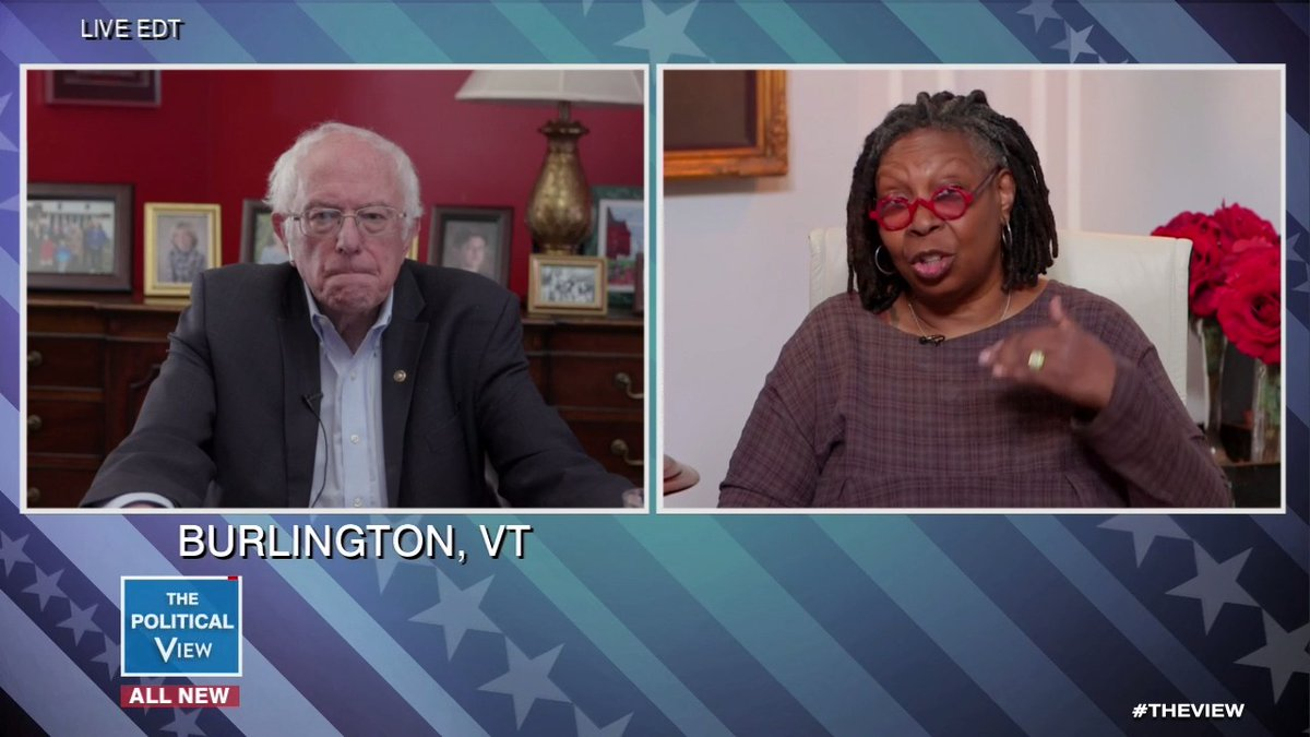 """Why am I staying in the race? Bc my opponent is struggling to form coherent sentences and is still pushing a healthcare plan that leaves 10 million uninsured during a fucking pandemic, Whoopi, that's why"" is what I would've said"