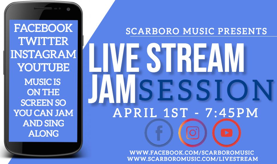 #LIVESTREAM #JAMSESSION TONIGHT!! NEW TIME - 7:45PM. We are allowing time for those that want to step outside at 7:30pm to cheer for our healthcare workers and ALL those on the frontline.  Facebook -  https:// buff.ly/2MSArP5     Website -  https:// buff.ly/2WmK3cc     #wearemusic <br>http://pic.twitter.com/Cx9vICOAp7