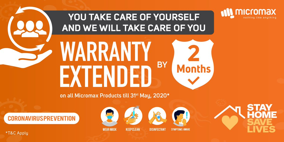 You take care of yourself and we will take care of you. Warranty on all of the Micromax products have been extended by 2 months for our Micromax family whose warranty expires between  Apr'20 to May'20. Don't worry we have got you covered. https://t.co/XtolSko6nI
