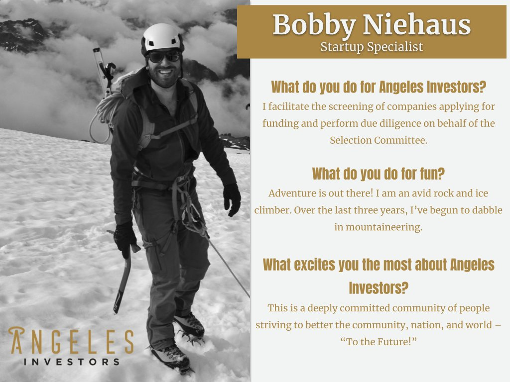 Angeles #Team #Highlight presents Bobby Niehaus, our Startup Specialist. Bobby is an MBA student at the University of Chicago's Booth School of Business and has been helping find, fund and grow #Hispanic & #Latinx #ventures. Thank you, Bobby!pic.twitter.com/UXFMmJsTZi