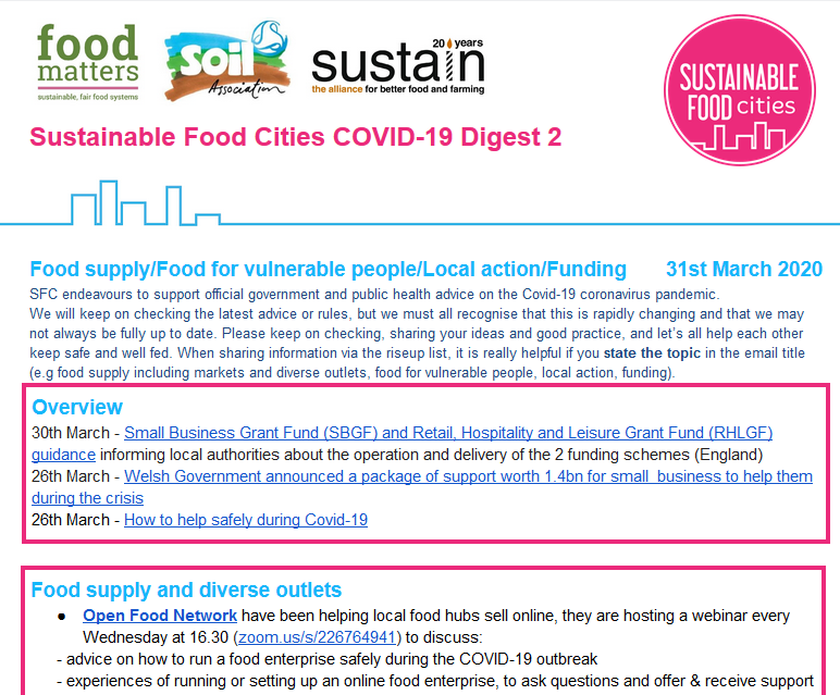 Have you read SFC Digest 31st March? Compiling the wealth of info from SFC Network on local food responses to #coronavirus. #FoodSupply #FoodInsecurity #Funding > tinyurl.com/s3mch75. Want to receive direct to your inbox? Subscribe to SFC email list > tinyurl.com/wteyxg2